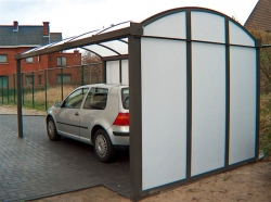 carport 5x3m met dichte achterwand en zijwand achterzicht