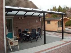 carports terras met kopse en muurbevestiging 6x3m